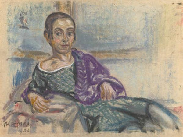 Elsa Oeltjen Kasimir, Ležeči avtoportret, 1922, pastel, papir. Foto: Umetnostna Galerija Maribor