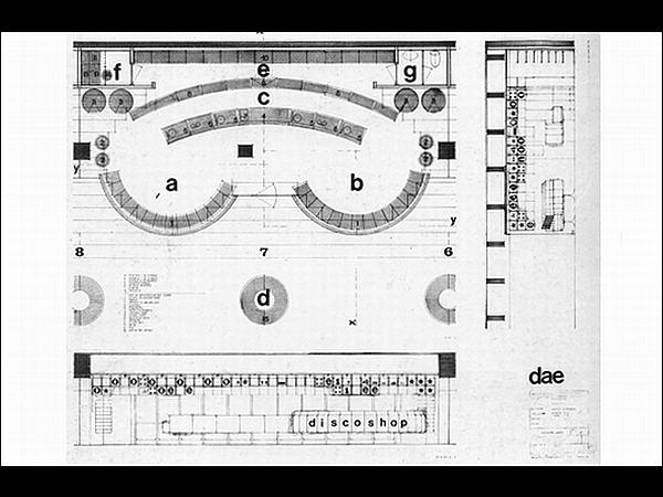 Edvard Ravnikar: Tloris prodajalne plošč v podzemni pasaži