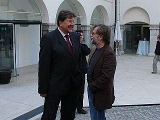 Igor Bavčar in Tone Stojko - organizator Odbora za varstvo človekovih pravic in dokumentarist delovanja Odbora. Foto: MMC RTV SLO