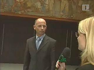 Minister Janez Drobnič in novinarka RTV-ja Katja Šeruga