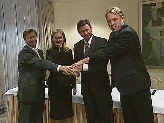 Koalicijski partnerji so končali pogajanja o vsebini in kadrovskem delu koalicijske pogodbe. Zdaj čakajo, če bo DZ potrdil novo vlado, da bo ta lahko začela delati. Foto: MMC RTV SLO
