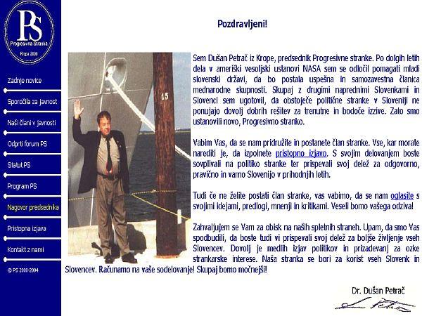Predhodnica Zelenega progresa je Progresivna stranka, ki jo je ustanovil slovenski znanstvenik, ki živi v ZDA, Dušan Petrač. Foto: MMC RTV SLO