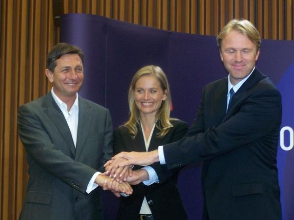 Borut Pahor in Gregor Golobič imata razlog za smeh - obema je uspelo povečati število poslancev, stranka Katarine Kresal pa je v primerjavi z letom 2004 največ izgubila. Foto: MMC RTV SLO