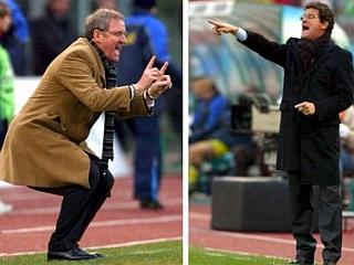 Luigi Del Neri in Fabio Capello. Soseda (prvi prihaja iz Ogleja, drugi iz Škocjana ob Soči) in nekdanja trenerja Rome, pa tudi tekmeca v italijanskem prvenstvu. Foto: EPA