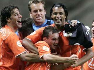 Nizozemci so si po koncu tekme dali duška.