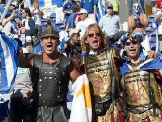 Navijači Grčije so bili v Portu bojno razpoloženi.