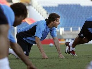 Ruud van Nistelrooy na treningu nizozemske reprezentance.